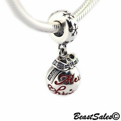 Authentic Silver Sleighing Santa Translucent Red Enamel Charm Bead Xmas Gifts