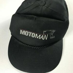 Motoman Slideback Hat VTG Black Cap Drilling Robot Adult One Size Gray Mens