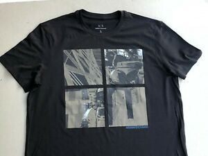 NEW-Men-L-Armani-Exchange-Robot-Graphics-Crew-neck-T-Shirt