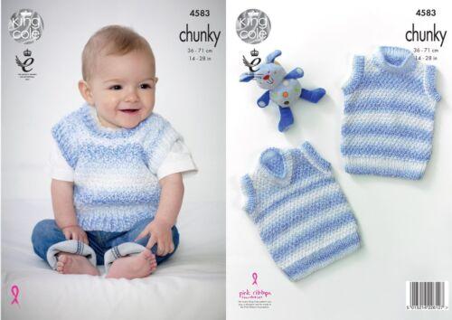 bebé//Childs slipovers King Cole Gruesa Tejer patrón 4583