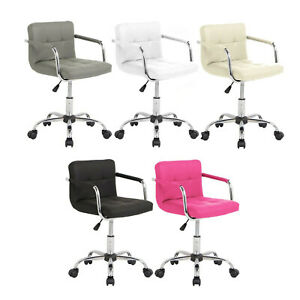 Cushioned-Computer-Office-Desk-Chair-Chrome-Legs-Lift-Swivel-Small-Adjustable