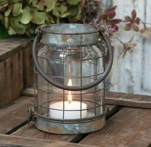 Glas Windlicht Kerzenhalt Chic Antique vintage und shabby Laterne Factory Zink