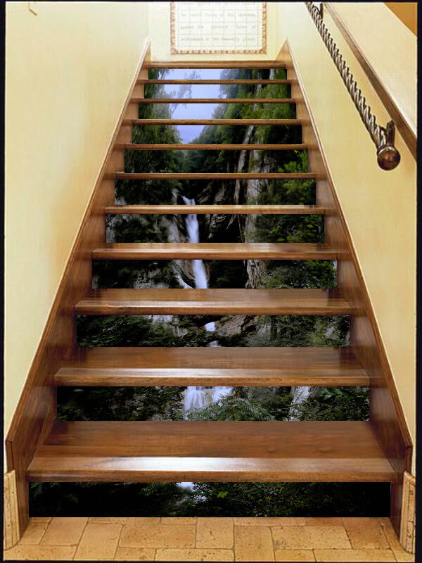3D Tree waterfall 5 Stair Risers Decoration Photo Mural Vinyl Decal Wallpaper AU