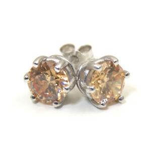 Earrings-6-Claw-Champagne-Diamond-Unique-2ct-Solitaire-Solid-9ct-Gold-Studs