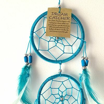 NEW DREAM CATCHER CHOOSE FROM BLACK WHITE OR TURQUOISE 5 CIRCLES NATIVE AMERICAN
