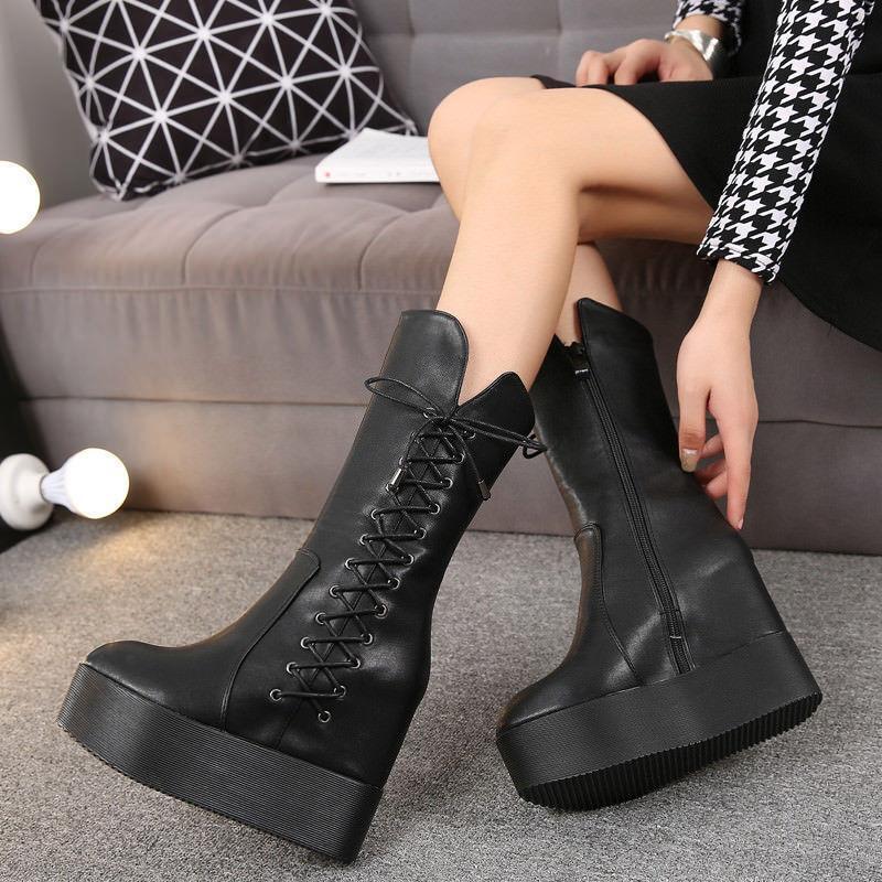 Roman Womens Black Punk lace up Mid Calf Boots Platform Hidden Wedge Heel Boots