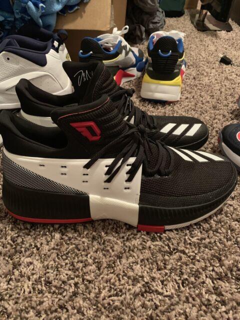Adidas D Lillard 3 Dame Mens Sz 12 Black White Red Basketball Shoes