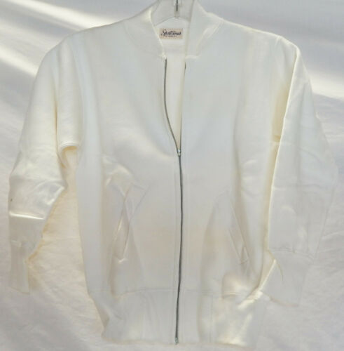 1940's-50's NOS White Zipper Front Sweatshirt