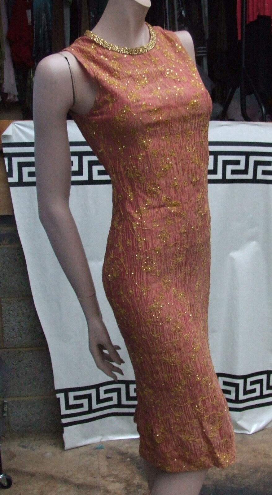 Amazing Hand Made Raspberry Orange Evening Silk Dress & Bolero with Gold Größe 8