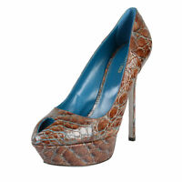 Sergio Rossi Croc Leather High Heel Platform Classic Pumps Shoes Us 9 It 39