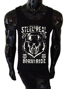 Born-To-Ride-Serbatoio-Top-Biker-Maglietta-66-No-Fear-D-039-Acciaio-E-Vero-Gilet