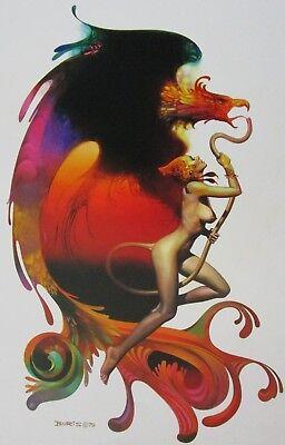 Boris Vallejo Vintage Art Nude Fantasy Print 1980 Woman Valkyrie Angel Satyr