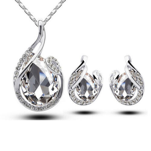 Simple larme strass cristal boucle d/'oreille Pendentif Chaîne Collier Bijoux Set