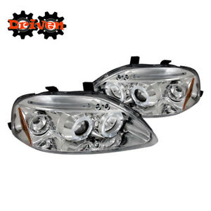 Image Is Loading Chrome Headlights Dual Halo Project LED Hatch Coupe