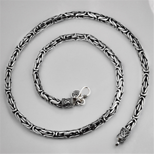 Heavy-3-5mm-Solid-925-Sterling-Silver-BYZANTINE-Chain-Necklace-Handmade-Jewelry