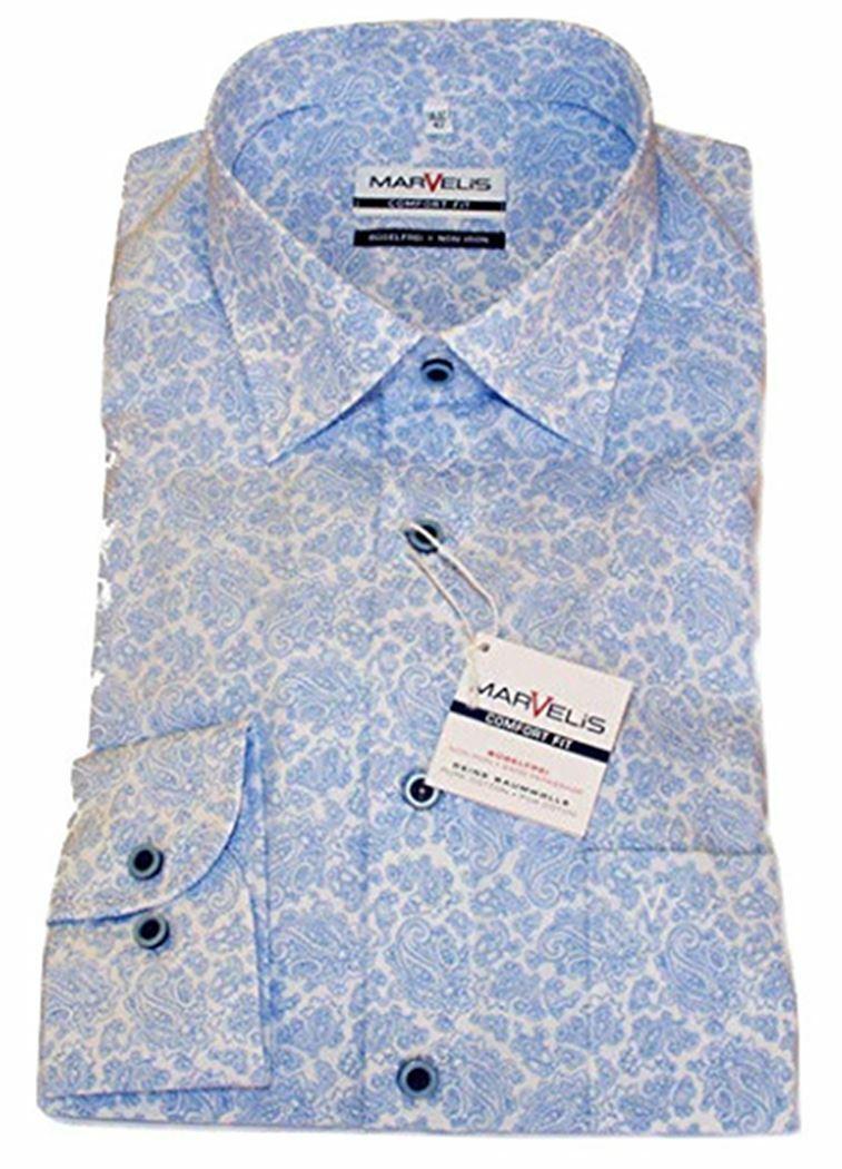 Sky Paisley Contrast Spread Collar