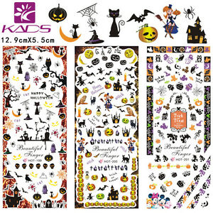3Sheets-Lot-Halloween-Nail-Art-Stickers-Water-Transfer-Decal-HOT199-201