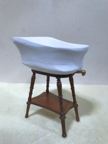 Dollhouse Miniature Hand-made Baby Bath on Wooden Walnut  Stand