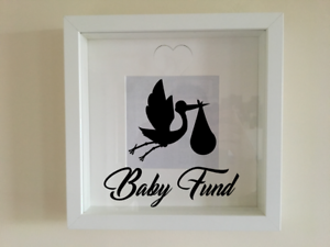IKEA RIBBA Box Frame Personalised Vinyl Wall Art Quote Baby Fund