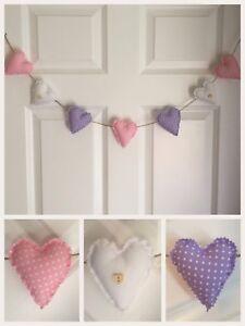 Handmade Shabby Chic  Heart Nursery Wedding Garland Bunting