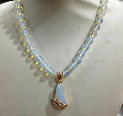 10mm Sri Lanka Moonstone Gemstone Pendant Necklace Inlay Crystal 18""