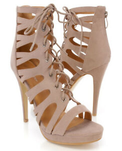 8245c3a5b8 SIZE 7.5 TAUPE CAGED STILETTO HIGH HEEL SANDAL LACE UP WOMEN OPEN ...