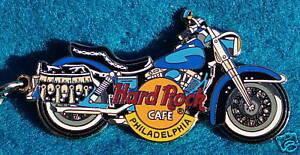 Philadelphia-Motore-Cycle-2-Tono-Blu-Bicicletta-Portachiavi-Rigida-Rock-Cafe-Non