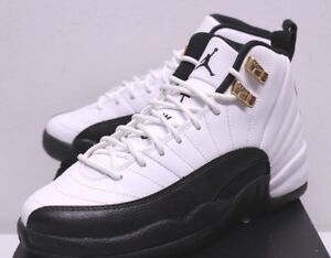 newest a60c7 d2476 Details about Air Jordan Retro 12 XII Taxi Black White Gold Leather  Sneakers Boy's 3.5-7 New
