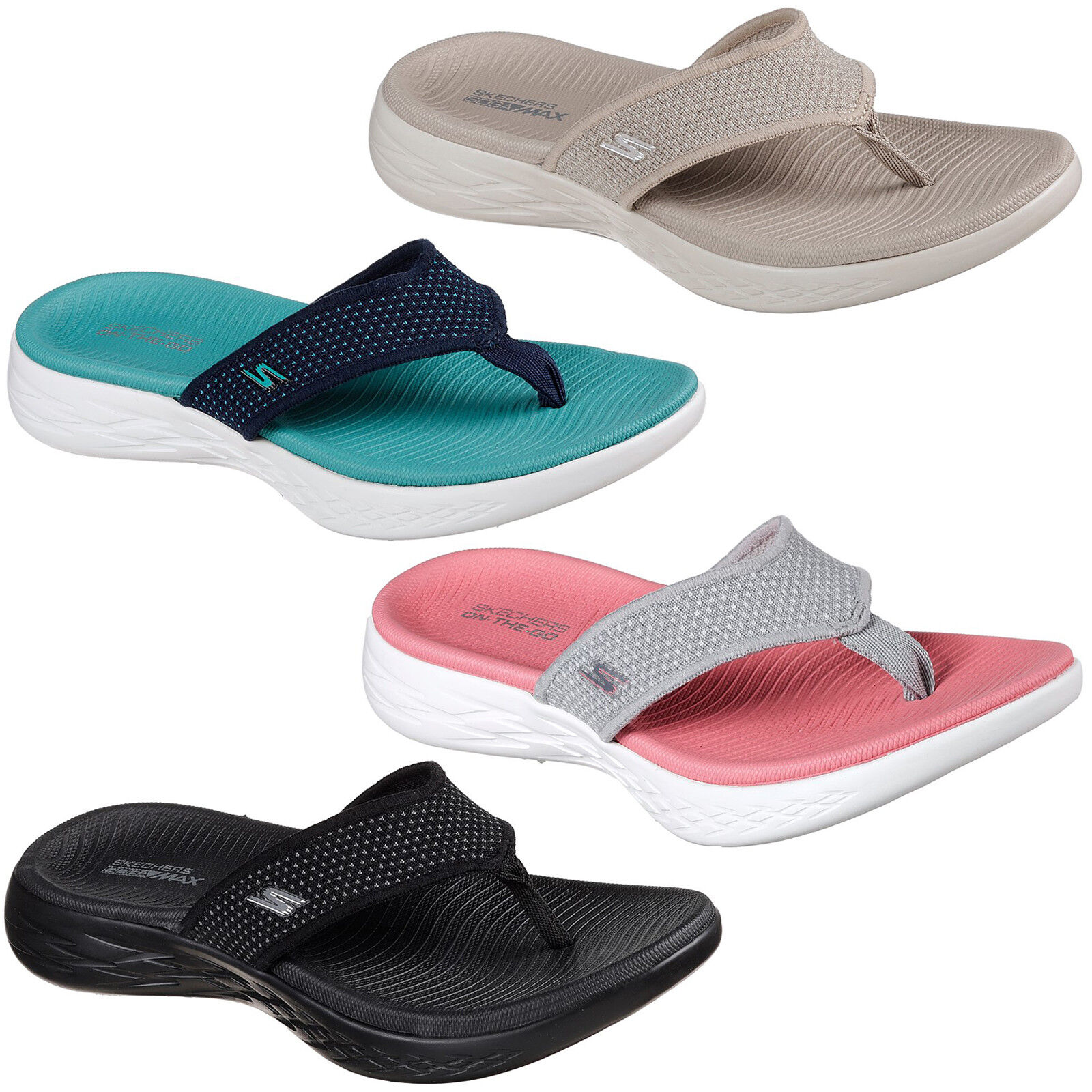 Skechers On The Go 600 Flip Flops Memory Foam Summer Womens Sandals Toe Post