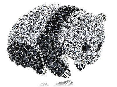 6 PC Black Silver Crystal Rhines Baby Panda Zoo Animal Pin Brooch B1176 UK