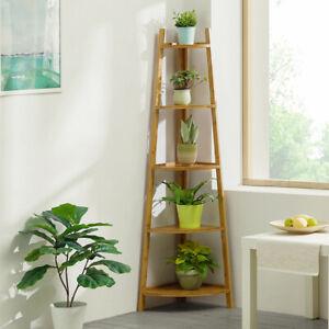 Bamboo-Wooden-Corner-Storage-Shelf-Rack-Ladder-Shelving-Unit-Display-Plant-Stand