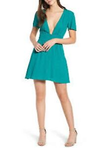 Lost-and-Wander-S-Verdera-Plunging-Neckline-SIlk-Blend-Green-Mini-Dress-NWT