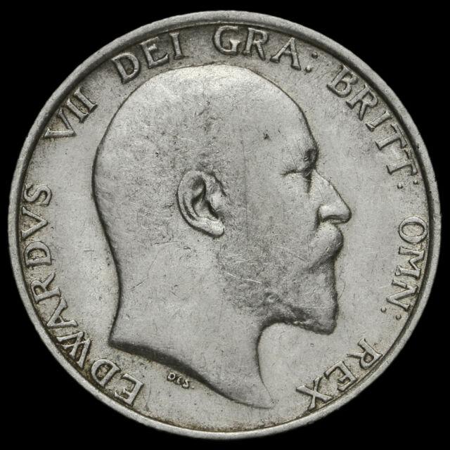 1909 Edward VII Silver Shilling, Scarce, GF / AVF