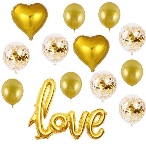 Engagement Wedding Valentine 15pc Love Balloons Foil /& Confetti Party Decor
