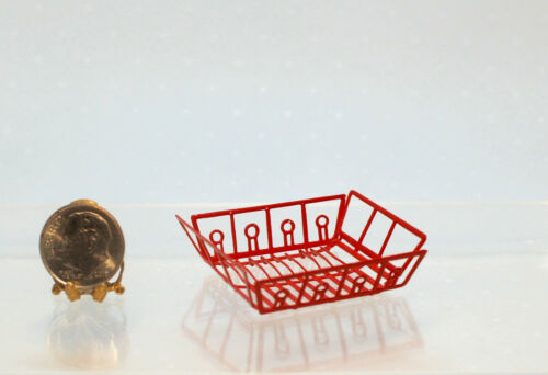 Dollhouse Miniature Red Metal Dish Rack or Drainer