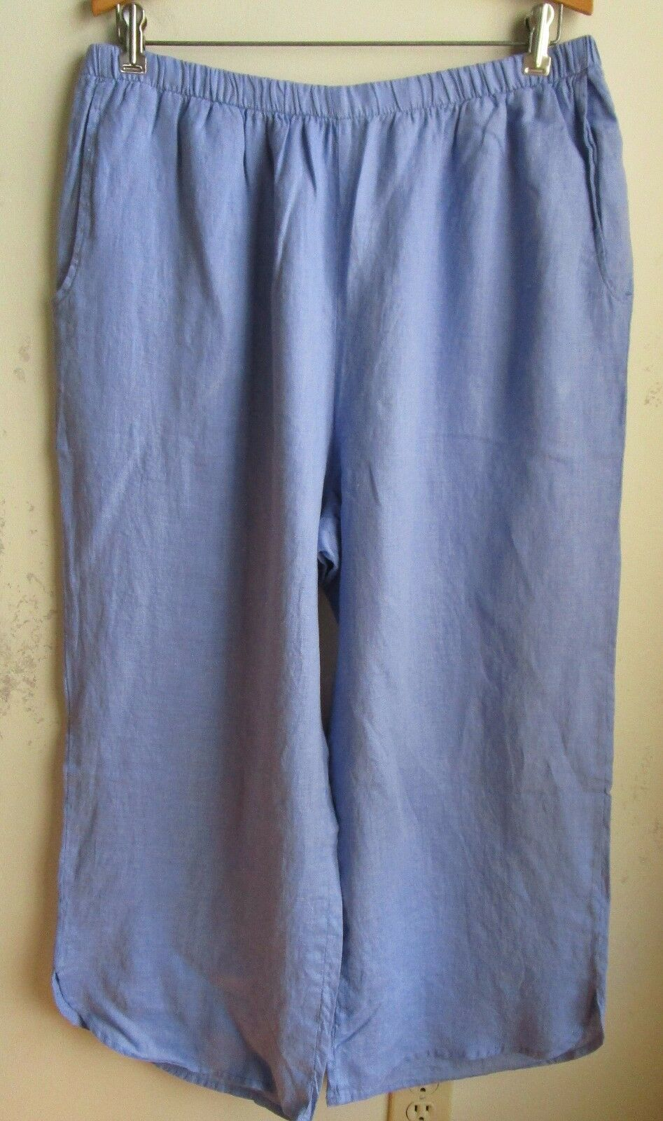 FLAX  Designs   Linen Pants  Shirttail Floods   L  NWOT    blueEBELL