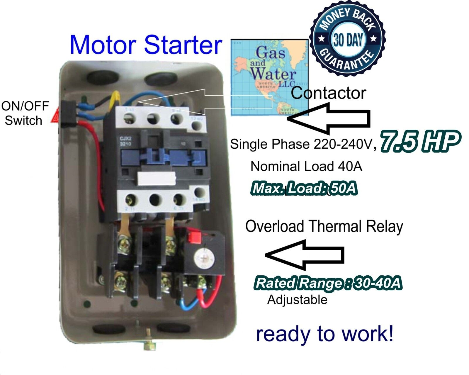 75 Hp Magnetic Starter Motor Control Single Phase 1ph 220 240v 30 Wire Or Four 240 Volt 60 Hz A 208 40a Ebay
