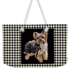 Weekend-Tote-Yorkshire-Terrier-on-Herringbone-FREE-Personalization
