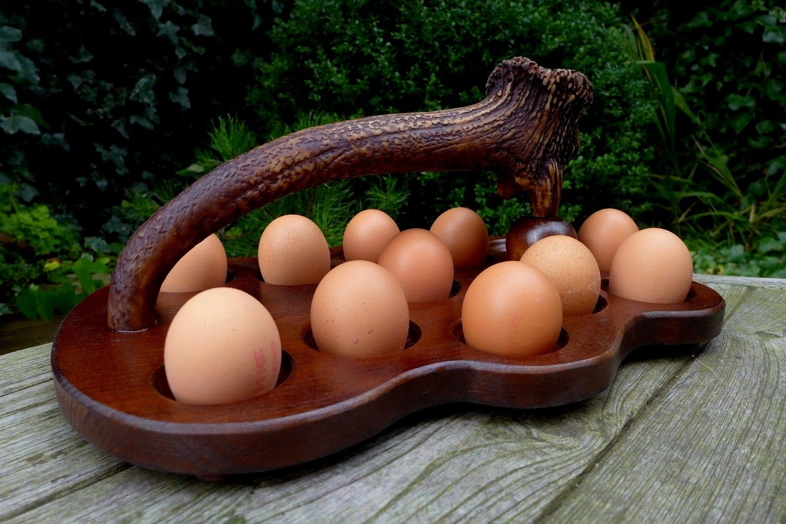 Egg Holder Handmade & handcrafted holder for 12 eggs a copy of the deer handle