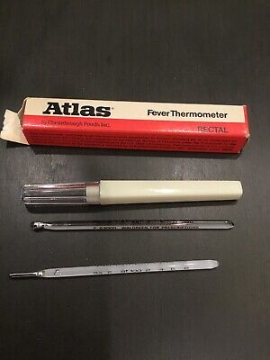 2 Fever Thermometers~Glass Oral and Rectal~Vintage Atlas ...