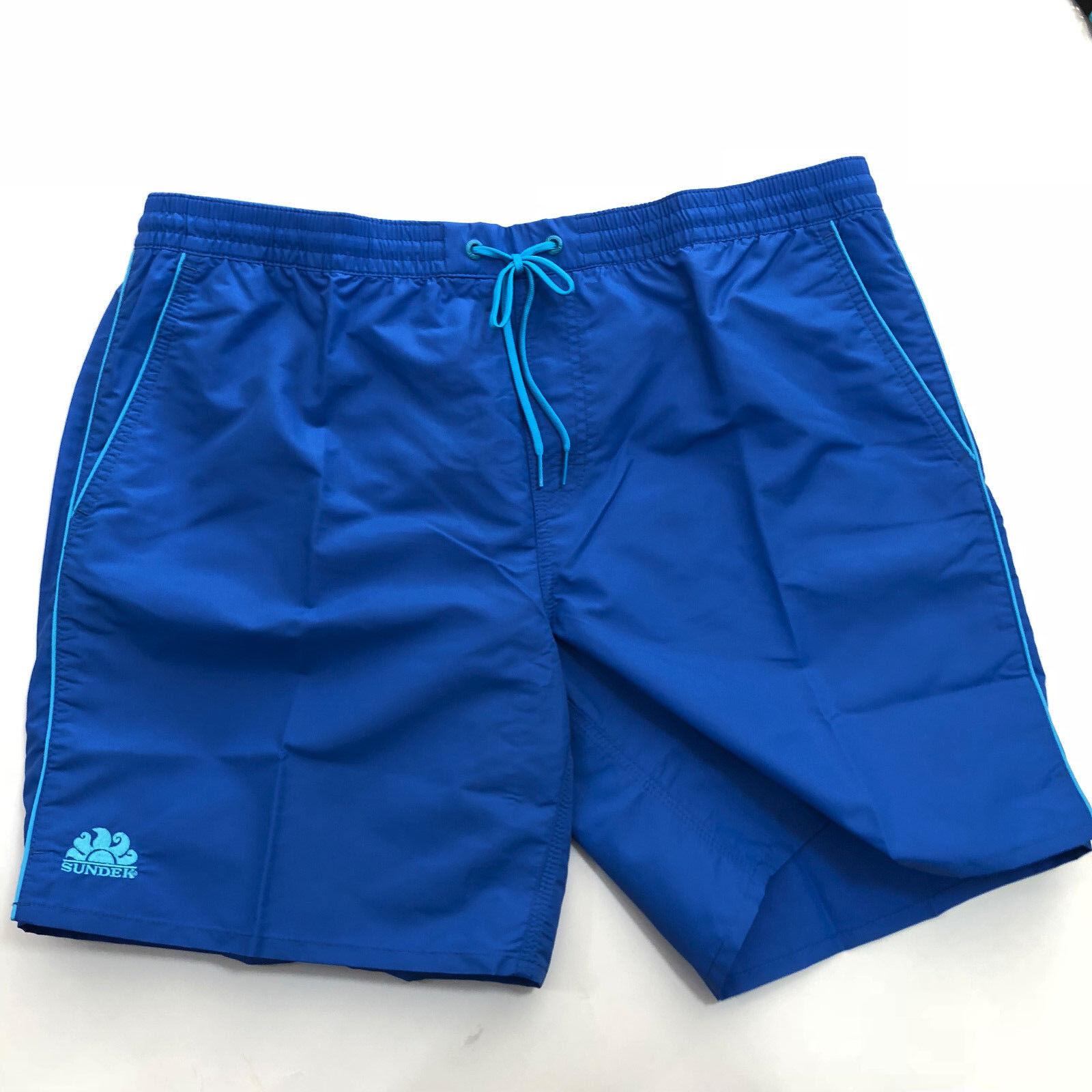 Costume Boxer SUNDEK men - Rosco Waist 13 Piping Fluo - blue Navy - M619B
