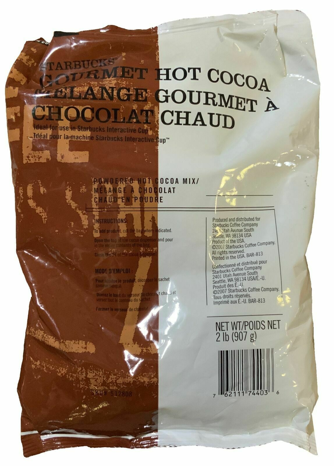 6 LBS Starbucks Classic Hot Cocoa Mix Commercial Bag//Envelope Best By 11//2019