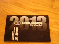2013 POLARIS TURBO IQ LXT SNOWMOBILE OWNER'S MANUAL