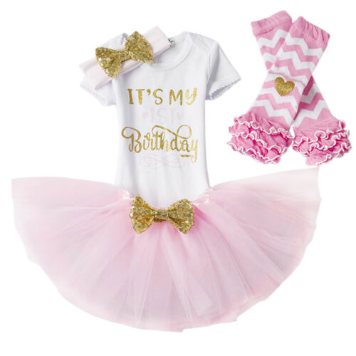 It/'s My First Birthday Romper Skirts Cake Photo Smash 4PCs Outfits for Baby Girl
