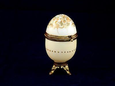Antique French Opaline Off White Glass Egg Trinket Box Enamel Flowers Gold Swirl