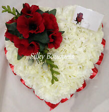 Artificial Silk Funeral Flower Poppy Heart Memorial Tribute Faux Crem Wreath