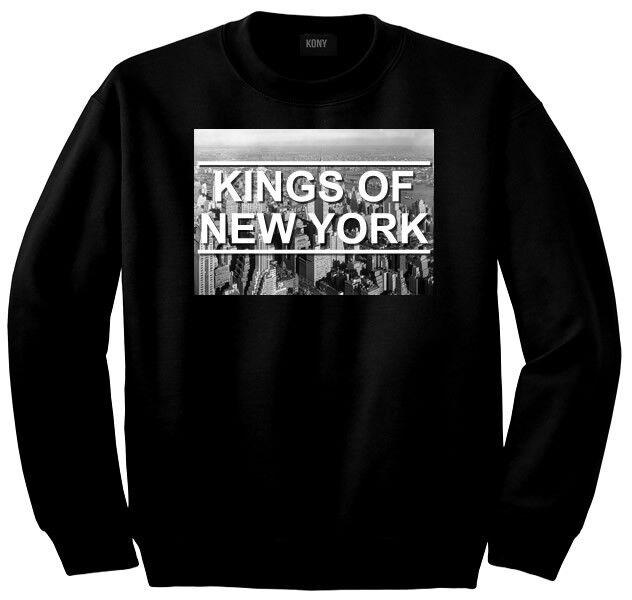 Kings Of NY New York City Skyline Long Sleeve 50/50 Crewneck Sweatshirt Black