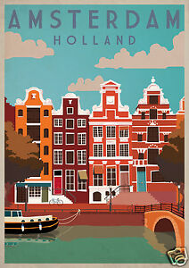 40ce1a7ebbd Image is loading Vintage-Travel-art-Print-painting-Amsterdam-Holland-canvas-