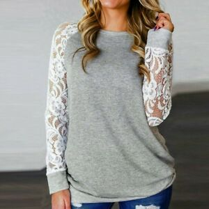 Femmes-Lady-Dentelle-Floral-Epissage-T-shirt-grande-taille-O-cou-a-manches-longues-chemisier-Tops