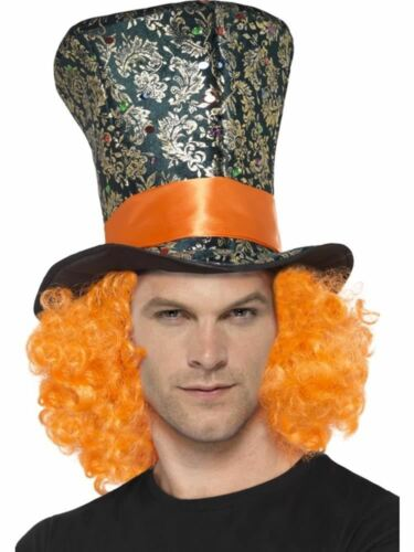 Adult Fancy Dress Costume Accessory Mad Hatter Orange Hair Top Hat